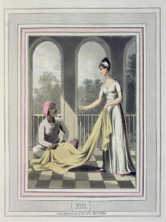 A European Lady Giving Instructions to Her Durzee, or Native Tailor
