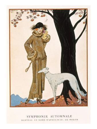 Autumnal Symphony, Afternoon Coat and Dress by Worth, from 'Gazette De Bon Ton' No.9, 1922
