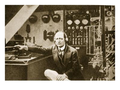 Guglielmo Marconi in the Wireless Cabin of His Yacht, Elettra (Sepia Photo)