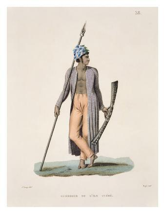 Warrior from the Island of Guebe, from 'Voyage Autour Du Monde (1817-20)'