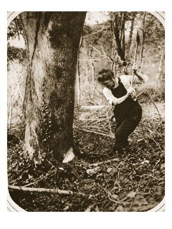 A Strenuous Woman-Worker at Weston-Super-Mare; Felling Trees in a Somerset Wood