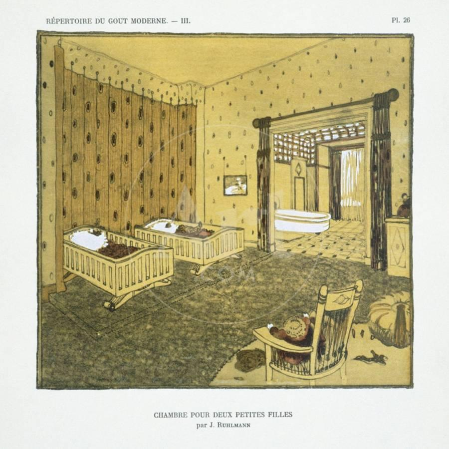 Deco Chambre Maryline Monroe bedroom for two small girls, from 'repertoire of modern taste', published  1929 (colour litho)