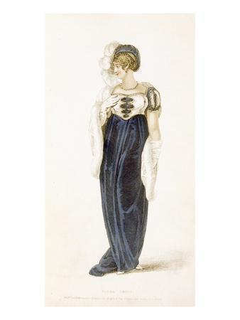 Evening Dress, Fashion Plate from Ackermann's Repository of Arts (Coloured Engraving)