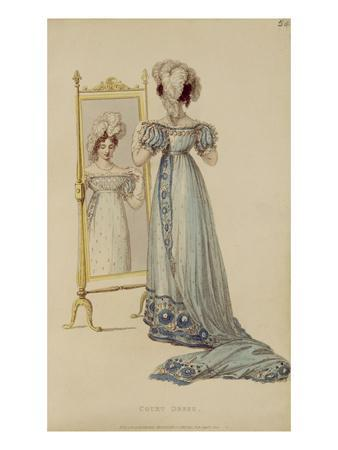 Court Dress, Fashion Plate from Ackermann's Repository of Arts (Coloured Engraving)