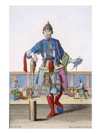 A Bonnet Maker (Coloured Engraving)
