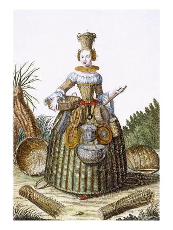 The Basket Weaver's Costume (Coloured Engraving)