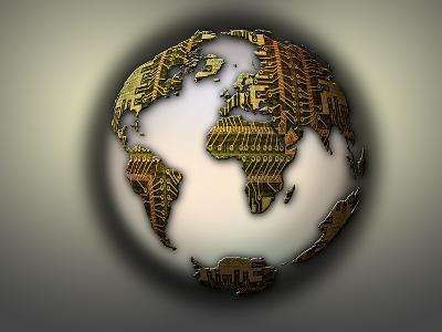Earth with Circuit Board Continents