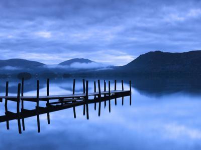 Reflection of Jetty in a Lake, Derwent Water, Keswick, English Lake District, Cumbria, England