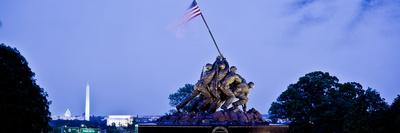Iwo Jima Memorial at Dusk with Washington Monument in the Background, Arlington National Cemeter...