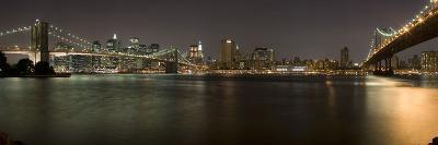 Brooklyn Bridge and Manhattan Bridge across East River at Night, Manhattan, New York City, New Y...