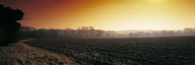 Plowed Fields in Winter at Sunset, Norfolk, England