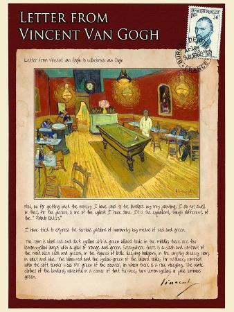 Letter from Vincent: Night Cafe on Place Lamartine in Arles