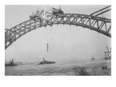 Completing the Hell Gate Railroad Bridge over the East River Connecting Queens with Manhattan