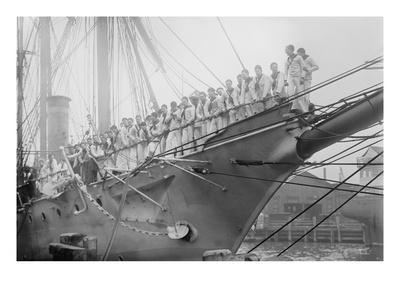 Us Navy Sailors on the Newport Training Ship Lined Up on Bowsprit
