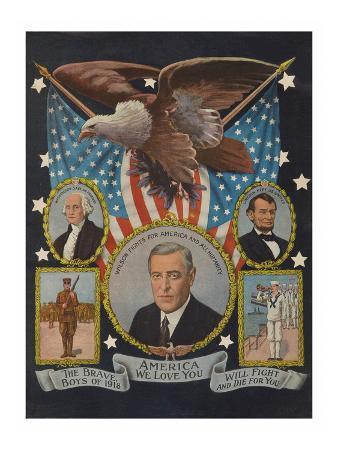 America We Love You - Patriotic War Poster