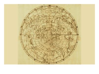 Celestial Map of the Mythological Heavens with Zodiacal Characters