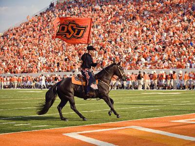 Oklahoma State University - The Cowboy Enters Boone Pickens Stadium