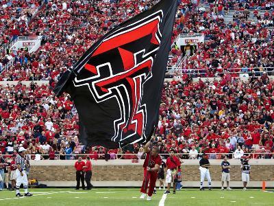 Texas Tech University - Red Raider Cheerleaders and Flag
