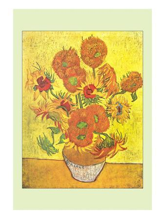 Vase with Fourteen Sunflowers