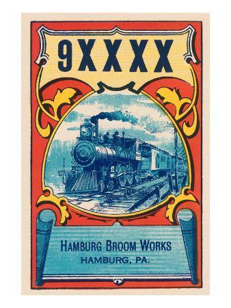 9Xxxx Steam Train Broom Label