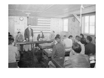 Roy Takano [I.E., Takeno] at Town Hall Meeting, Manzanar Relocation Center, California