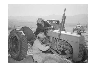 Tractor Repair: Driver Benji Iguchi, Mechanic Henry Hanawa, Manzanar Relocation Center, California