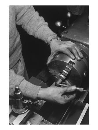 Hands of Lathe Worker
