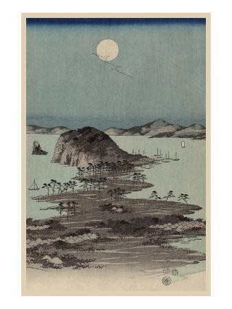Evening View of Eight Famous Sites at Kanazawa in Musashi Province (Uyokanazawa Hassshoyakei) No.1