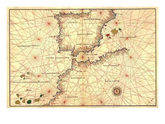 Spain And Africa Map.Portolan Or Navigational Map Of The Spain Gibraltar And North