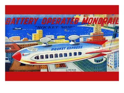 """Battery Operated Monorail """"Rocket Ship"""""""