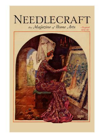 Medieval Girl Sews a Tapestry