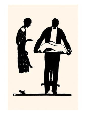 Butler Holding a Tray Takes Instruction from the Lady of the Home