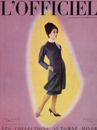 L'Officiel, September 1959 - Robe de Christian Dior en Grizki de Lesur