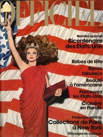 L'Officiel, December 1975 - Robe de Pierre Cardin en Crêpe Rouge d'Abraham, Bijoux de M. Gérard