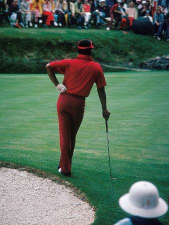 Professional Golfer Lee Elder Waits His Turn to Putt,  April 1975 Master Tournament