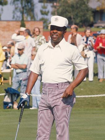 Professional Golfer Lee Elder Works the Greens,   1974
