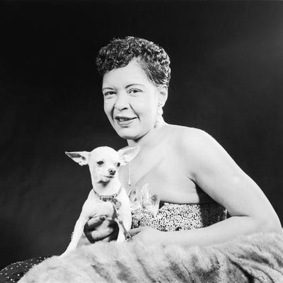 Famed Jazz Singer Billie Holiday with Her Pet Chihuahua,1957