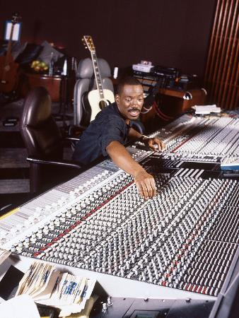 Comedian and Actor Eddie Murphy Listens to the Playback of One of His Tunes, April 1994