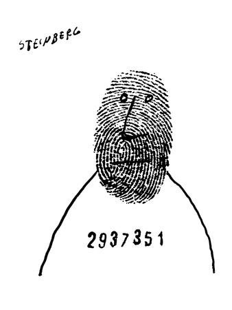 Prisoner with number across chest has thumb print as a face. - New Yorker Cartoon