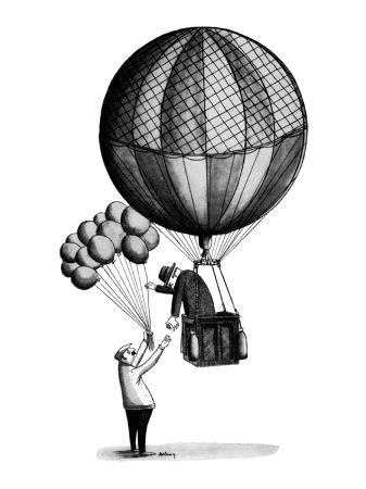 Man in old-fashioned hot air balloon reaches down to buy a child's balloon… - New Yorker Cartoon