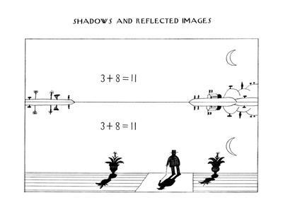 Six drawings of people and things reflected and cast in shadow. - New Yorker Cartoon