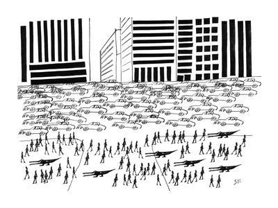 Pedestrians and Alligators walk on crowded sidewalk as cars flood a city a… - New Yorker Cartoon