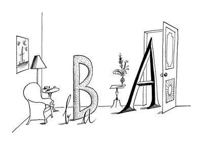 Upper and lower case A's and B's in a living room setting. - New Yorker Cartoon