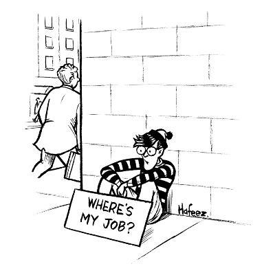 """Waldo from """"Where's Waldo?"""" sits on the street corner with a sign that say… - New Yorker Cartoon"""