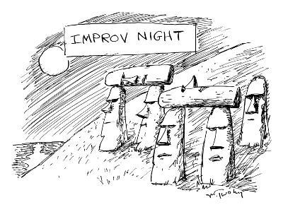 Some Moai statues on Easter Island support others with their heads. - New Yorker Cartoon