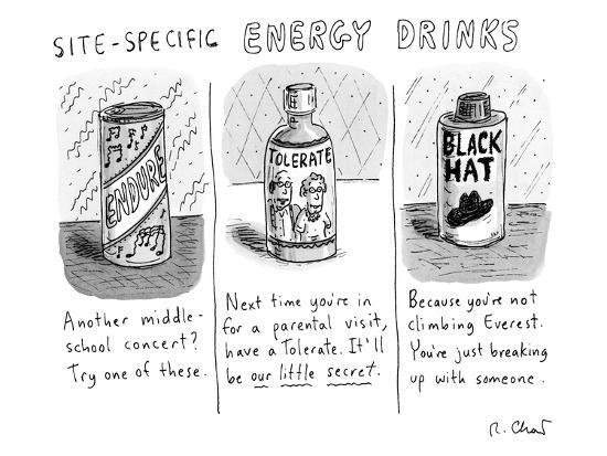 """""""Site-Specific Energy Drinks"""" A series of energy drinks with funny names  -  New Yorker Cartoon"""