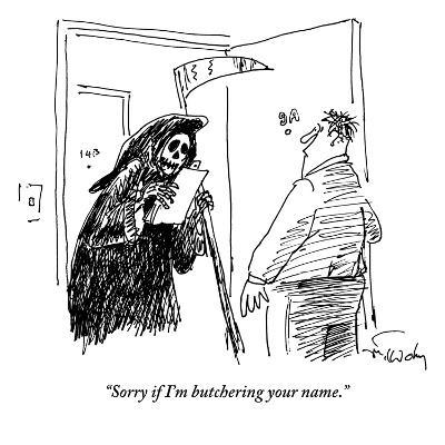 The Grim Reaper stands in the doorway of a man's apartment holding a clipb… - New Yorker Cartoon