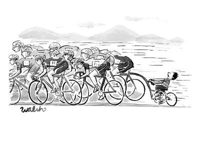 A group of bikers race competitively. At the end of the cluster one kid on… - New Yorker Cartoon