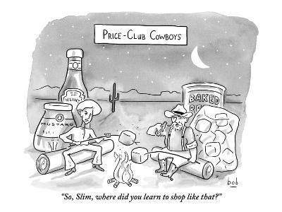"""""""So, Slim, where did you learn to shop like that?"""" - New Yorker Cartoon"""