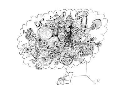 A man sitting in a chair is thinking of a very large elaborate sketch. - New Yorker Cartoon